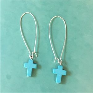 Jewelry - Turquoise Cross Earrings
